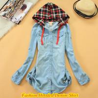 Free Shipping Ladies Brand Hooded Denim Shirt Long Sleeve Washed Denim Casual Shirt QR-4853