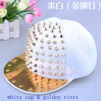 New top quality cotton acrylic snapback cap metal rivet fashion hiphop cap spikes punk snapback hat unisex 6 panel baseall cap