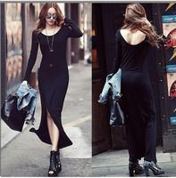 Free Shipping High Quality Designer Dresses New 2014 Fashion Autumn Winter Women Sexy Casual Black Europe Beautiful Dress Long