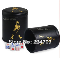 Free shipping,hot!new fashion black plastic leather  without bottom support 110g KTV bar manual dice cup With six dice,1 pcs/lot