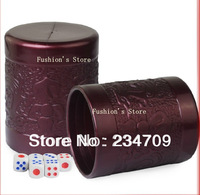 Free shipping,hot sell! new fashion dark red PP plastic without bottom support 90g manual dice cup With six dice,1 pcs/lot