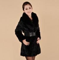 Large fox fur rabbit fur coat medium-long women's fur  natural  fur coat