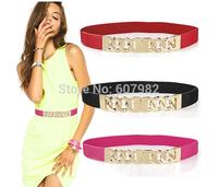 New 2015 Belts Woman Gold Metal Buckle Belt Female Fashion High Quality Elastic Waistband Skinny Thin Chain Belt For Women