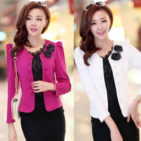 Women slim blazer new 2014 fashion design rose red white colors with flowers pencil style for office lady hot selling