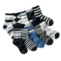 wholesale multi colors 2013 Fashion 10 pairs/lot children's cotton stripe socks kids boys warm short socks 7 years -11 years