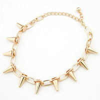 Punk Style Fashion Silver Rose Gold Plated Vintage Rivet Spike Necklace Collar Choker Necklace