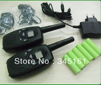 Cheapest 8km  long range 1W power two way radios 2 pc pack with rechargeable batteries, charger and earphones by Singapore Post!