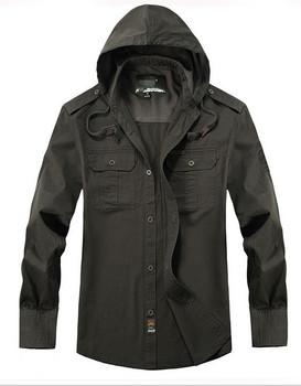 Верх quality men's 100% Хлопок Длинный Рукав shirt with hoodie brand Модный outdoor military Стиль Повседневный рубашка male