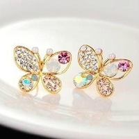 2014 Korean Fashion Delicate hollow out pearls colorful rhinestone butterfly earrings jewelry women Weddings Accessories PD21