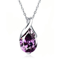 silver 88A037 natural amethyst pendant water drop Angel Tears Taobao Hot