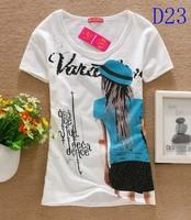 2014 Limited [dan]hot Sale!!!free Shipping Hot Sale Good Quality T Shirt Women Tops Type T-shirts Sleeve Women's Shirts 35color