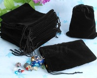 Free Shipping,100pcs/Lot 8*10cm Black chinese Christmas Wedding voile gift bag Velvet Bags Jewlery packing Gift Pouches