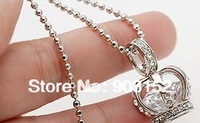 (Min Order $9.9-Free Shipping) Fashion Crown Pendant Necklace with Crystal Zircon Chain Jewelry Dropshipping Offered