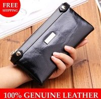 Wholesale & Retail Oil waxing leather Wallets women's Mobile Phone Clutch Genuine leather Double Zipper Wallet with Coin Purse
