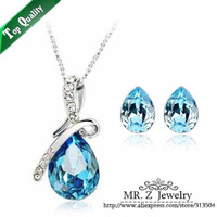 Hot Sale 2013 Christmas Austrian Crystal Tear Drop Blue Jewelry Set Bridesmaid Gifts Free Shipping