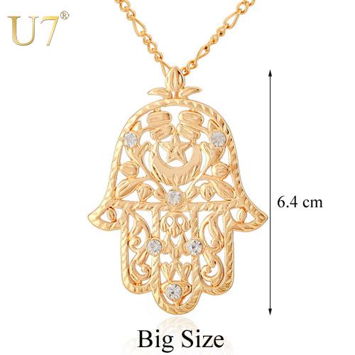 Hamsa Hand Pendant Women/Men Lucky Jewelry Gift Trendy 18K Real Gold Plated Rhinestone Hand of Fatima Pendant Necklaces P313(China (Mainland))