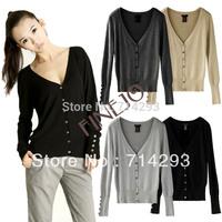 Fashion Women Shell Button V Neck Casual Jumper Knitwear Cardigan Sweater Tops Coat drop shipping 16273