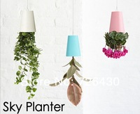 Free Shipping High Quality 4 Colors Sky Planter Upside-Down Plant Pot  for Home Office Decoration Flower Planter Novelty Gift