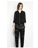 FREE SHIPPING 2013 New Arrival Women Leather Sweatpants Black Elastic Waist Jogger Pants Faux Leather Harem Sweatpants Plus