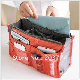 9 Colors Lady's organizer bag multi functional cosmetic storage handbag bags women insert purse(China (Mainland))