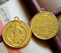 Catholic Religious Gifts Evil Exorcism Protection St St. Benedict holy Medal  Big necklace Pendant  gold plated