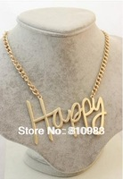 2013 Jewelry New Coming Big Letter Love Cool Happy Gold Necklace Chain Pendent Design