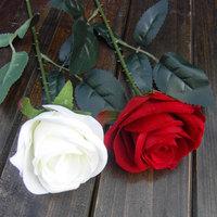 5pcs Single round velvet rose bud bride holding flowers Artificial Flower Dining Table home decorative