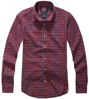 Men's clothing new arrival 100% fine cotton fashion red plaid shirt men shirt long-sleeve shirt