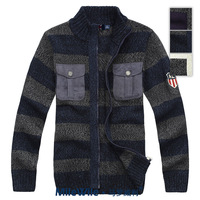 Mwe men's pseudo-ginsheng wool double pocket wide stripe thick sweater cardigan men