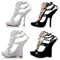 Gold Leaf Embellished High Heel Pumps Sandals For Women Wedges White Design Wings Ankle Strap Sandal Boots For Women SRGG1032