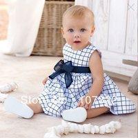 Fresh blue and white big plaid sleeveless one-piece dress baby dress 632251