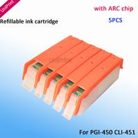5PCS PGI-450 with Auto Reset Chips refillable ink cartridge for canon IP7240 MG5440 MX924 MX724 IX6840 PGI-450XL CLI-451XL
