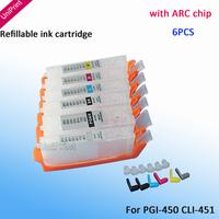 6PCS PGI-450PGBK CLI-451BK C M Y GY with chip refillable ink cartridge for canon MG6340  MG7140 pgi 450