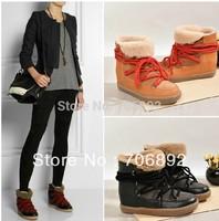isabel marant Nowles snow boots women genuien leather shoe tie up ankle boot wedge sneakers fur booties