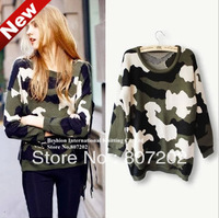 fashion personality 2013 Camouflage all-match o-neck sweater wholesale loose sweaters female Women Fashion Warm Loose Pullovers