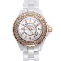 Women White Ceramic Luxury CZ Diamond Watch Men Fashion Brand Black Quartz Wristwatches Christmas Gift
