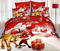 Holiday christmas bedding set,Cotton 4pc bedding set without the filler,500TC cotton red color christmas duvet cover for kids