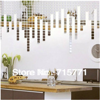New Acrylic Mirror Mosaic wall sticker decoration wallpaper mosaic  creative DIY  wall sticker  mirror mosaic 100 PCS 3 CM