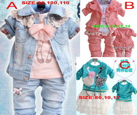 retail Spring and autumn retail sell 1 set girls t shirt + denim coat + pant 3pcs clothing set girl's clothes sets suits