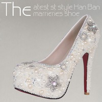 168-88  2013 Luxury Handmade Crystal Rhinestone Bride Shoes Pearl Wedding Shoes Evening Dinner Princess High-heeled Pump