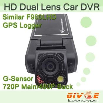 "2.5"" Rotating Screen P9 DVR Dual Lens Dashboard Car Vehicle Camera Support G-Sensor + External GPS Free Shipping"