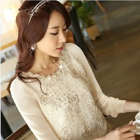 New 2014 Free shipping Spring Summer Woman Lace Chiffon Blouse embroidery Base Lady Shirt Flowers hollow out bead casual S~3XL