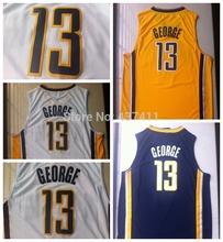 Nueva llegada !!! Indiana # 13 Paul George Blanco Amarillo jersey azul marino de la marca de fábrica de baloncesto , tamaño: S -XXL , envío libre(China (Mainland))