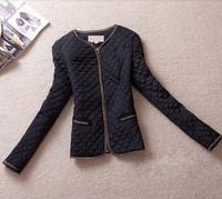 2014  hottest women vintage gold buckle epaulette pocket o-neck slim thin wadded jacket cotton-padded size M to 5XL biggest code