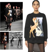 2013 autumn and winter new hot woman animal Bambi print fashion brand sweater sweatshirts pullovers for women ladies plus size