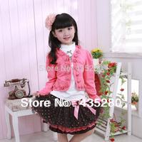 Retail new 2014 girls 3pcs clothing sets children's dress tracksuits sport sets kids spring-autumn-winter princess lace clothes
