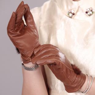 genuine leather gloves female sheepskin gloves women's thin thermal mink hair ball women gloves genuine leather gloves for women(China (Mainland))