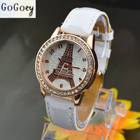 Fashion Quartz Watch Leather Young Women Watches Casual Dress Rhinestone Ladies Wristwatches New 2014