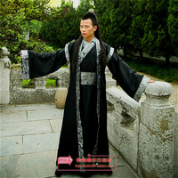 Free shipping  Men's hanfu costume cosplay clothes male rich twinset black   China Chinese national costume costume hanfu