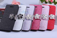 10pcs Diamonds flower Leather wallet card flip Cover Case for iphone 5 5S case + FILM A56-10